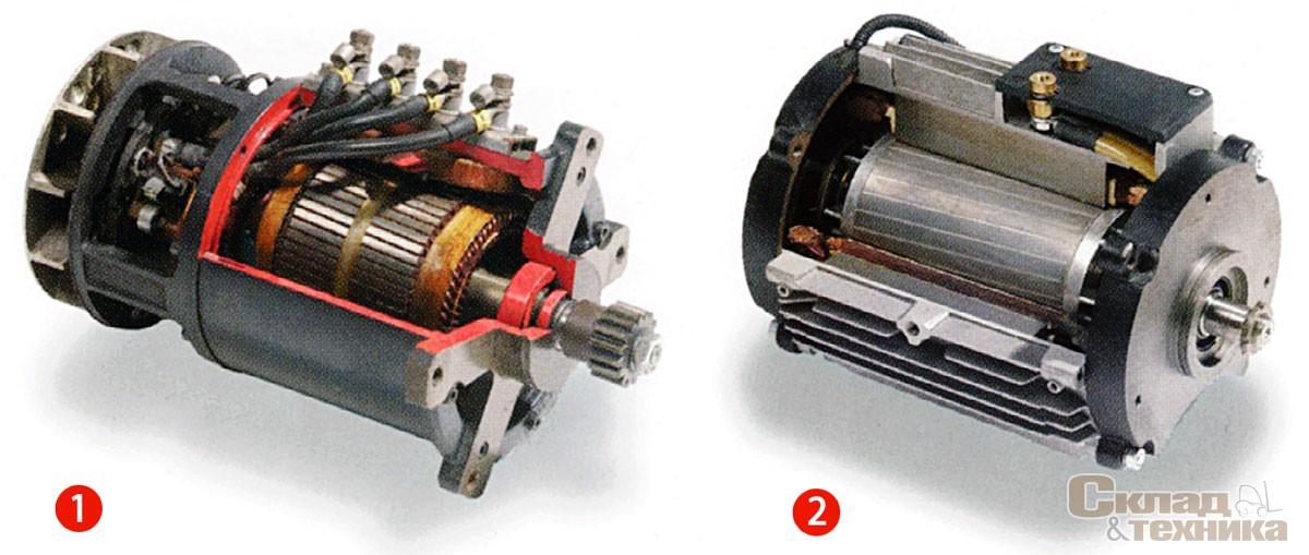 Двигатели постоянного (1) и переменного (2) тока